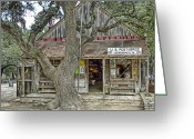 Oak Tree Greeting Cards - Luckenbach 2 Greeting Card by Scott Norris