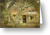 Oak Tree Greeting Cards - Luckenbach Aged Greeting Card by Scott Norris