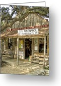 Oak Tree Greeting Cards - Luckenbach Greeting Card by Scott Norris