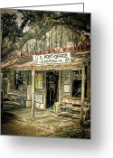 Oak Tree Greeting Cards - Luckenbach TX Greeting Card by Scott Norris