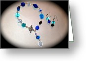 Gift Jewelry Greeting Cards - Lucky blue bracelet and  earringa Greeting Card by Pretchill Smith
