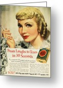 Smoker Greeting Cards - Luckys Cigarette Ad, 1938 Greeting Card by Granger