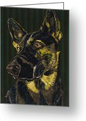 Shepherd Painting Greeting Cards - Lucy Guards the World Greeting Card by David  Hearn