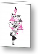 Black And White Abstract Greeting Cards - Lucy in the sky Greeting Card by Budi Satria Kwan
