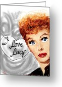 1950s Tv Greeting Cards - Lucy Greeting Card by Russell Pierce