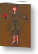 Lucille Ball Greeting Cards - Lucys Burning Red Ball Greeting Card by Ricky Sencion