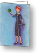 Lucille Ball Greeting Cards - Lucys Drunken Green Ball Greeting Card by Ricky Sencion