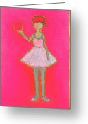 Lucille Ball Greeting Cards - Lucys Hot Pink Ball Greeting Card by Ricky Sencion