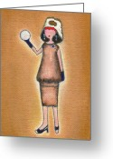 Lucille Ball Greeting Cards - Lucys Pearly White Ball Greeting Card by Ricky Sencion