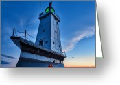 Sebastian Musial Greeting Cards - Ludington Lighthouse Greeting Card by Sebastian Musial