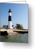 Trees Light Windows Greeting Cards - Ludington Michigans Big Sable Lighthouse Greeting Card by Michelle Calkins