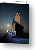 Signal Photo Greeting Cards - Ludington North Breakwater Lighthouse Greeting Card by Adam Romanowicz