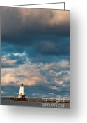 Dark Cloud Greeting Cards - Ludington North Breakwater Lighthouse at Sunrise Greeting Card by Sebastian Musial