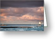 Dark Cloud Greeting Cards - Ludington Greeting Card by Sebastian Musial
