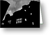 "\\\""haunted House\\\\\\\"" Greeting Cards - LUDLOW STORM threatening skies over the ruins of a castle spooky halloween Greeting Card by Andy Smy"