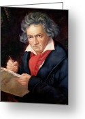 Pencil On Canvas Greeting Cards - Ludwig van Beethoven Composing his Missa Solemnis Greeting Card by Joseph Carl Stieler