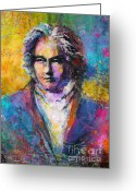 Custom Portrait Greeting Cards - Ludwig Van Beethoven portrait Musical Pop Art painting print Greeting Card by Svetlana Novikova