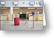 Airport Concourse Greeting Cards - Luggage at an Airline Check-In Counter Greeting Card by Jaak Nilson