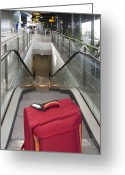 Airport Concourse Greeting Cards - Luggage at the Top of an Escalator Greeting Card by Jaak Nilson