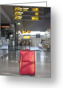 Airport Concourse Greeting Cards - Luggage Sitting Alone in an Airport Terminal Greeting Card by Jaak Nilson