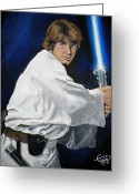Luke Skywalker Greeting Cards - Luke Skywalker Greeting Card by Tom Carlton
