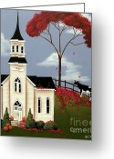 Village Church Greeting Cards - Lulabelle Goes To Church Greeting Card by Catherine Holman