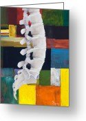 Spine Greeting Cards - Lumbar Spine Greeting Card by Sara Young