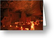 Pre Columbian Antiquities And Artifacts Greeting Cards - Luminarias Light Up The Anasazi Spruce Greeting Card by Ira Block