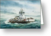 Rough-seas Greeting Cards - Lummi Island Ferry - Rough Seas Greeting Card by James Williamson