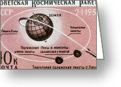 Postage Stamp Greeting Cards - Luna 1 Commemmorative Stamp Greeting Card by Ria Novosti