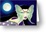 Stars Digital Art Greeting Cards - Luna Greeting Card by Cristina McAllister