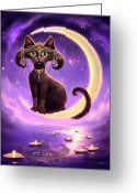Black Cat Greeting Cards - Luna Greeting Card by Jeff Haynie