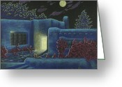 Taos Drawings Greeting Cards - Luna Luz Greeting Card by Charles Luna
