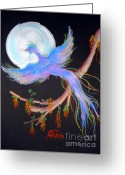 Fantasy Bird Pastels Greeting Cards - Luna Phoenix Greeting Card by Jo Hoden