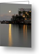 Lunar Eclipse Greeting Cards - LUNAR ECLIPSE over HILO BAY HAWAII Greeting Card by Daniel Hagerman