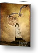 Lighthouse Greeting Cards - Lunar Flight Greeting Card by Meirion Matthias