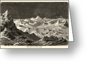 Rock Walls Greeting Cards - Lunar Landscape, 1872 Artwork Greeting Card by Detlev Van Ravenswaay
