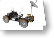 Four-wheel Greeting Cards - Lunar Rover, Artwork Greeting Card by Friedrich Saurer