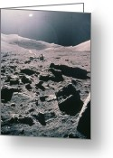 Camelot Greeting Cards - Lunar Rover At Rim Of Camelot Crater Greeting Card by NASA / Science Source