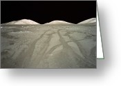 Moon Surface Greeting Cards - Lunar Surface, Tracks Of Lunar Roving Vehicle (lrv) In Dust Greeting Card by World Perspectives