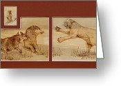 Wolves Pyrography Greeting Cards - Luncheon Dispute Greeting Card by Jerrywayne Anderson