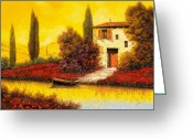 Farm Painting Greeting Cards - Lungo Il Fiume Tra I Papaveri Greeting Card by Guido Borelli