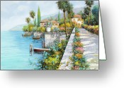 Flowers Greeting Cards - Lungolago Greeting Card by Guido Borelli