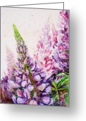 Flowerbed Greeting Cards - Lupins Greeting Card by Zaira Dzhaubaeva
