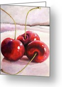 Cherries Greeting Cards - Luscious Cherries Greeting Card by Toni Grote