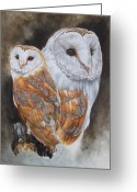 Bird Of Prey Mixed Media Greeting Cards - Luster Greeting Card by Barbara Keith