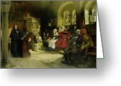 Germany Painting Greeting Cards - Luther Preaches using his Bible Translation while Imprisoned at Wartburg Greeting Card by Hugo Vogel