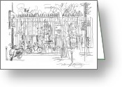 City Scene Drawings Greeting Cards - Luxembourg Garden Gate Greeting Card by Marilyn MacGregor