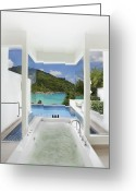Water Swimming Pool Greeting Cards - Luxury Bathroom  Greeting Card by Setsiri Silapasuwanchai