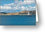 Porthole Greeting Cards - Luxury yacht sails in blue waters along a summer coast line Greeting Card by Ulrich Schade